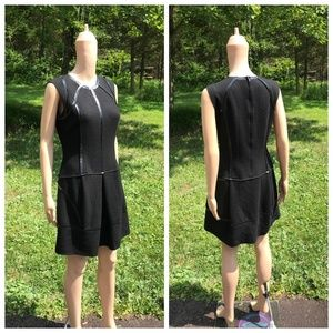 Prada Black Virgin Wool Dress with Shiny Trim 42/6